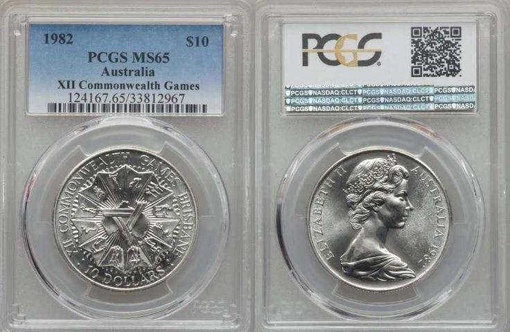 Beautiful Silver Coin from Australia 1982 Ten Dollars PCGS MS 65 Commemorating XII Commonwealth Games