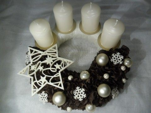 Adventní hnědosmetanový advent adventní dekorace vánoční
