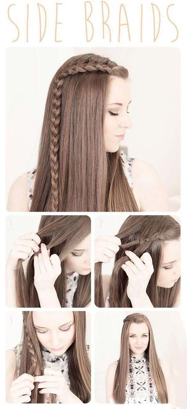 Best Hairstyles for Long Hair - Side Braids - Step by Step Tutorials for Easy Curls, Updo, Half Up, Braids and Lazy Girl Looks. Prom Ideas, Special Occasion Hair and Braiding Instructions for Teens, Teenagers and Adults, Women and Girls http://diyprojectsforteens.com/best-hairstyles-long-hair