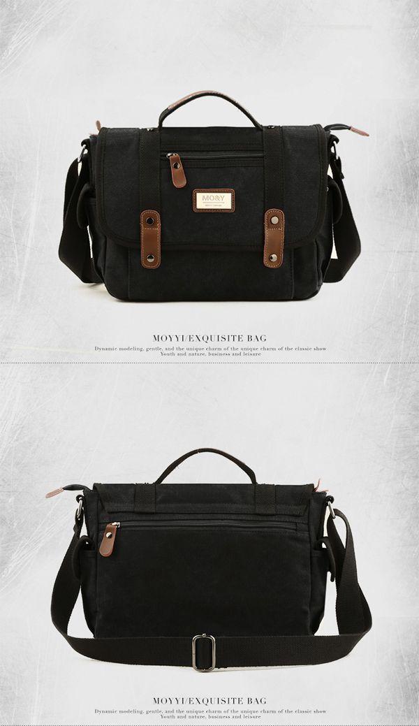 Canvas Casual Business Handbag Street Outdoor Shoulder Bag Khaki Messenger Bag