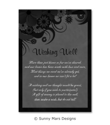 Goth Dark Gray or Grey Black Gothic Hibiscus Custom Printed Wedding Wishing Well Mini Cards Template by sunnymars of SunnyMarsDesigns..  Click through to see matching wedding stationery and other wedding related products.