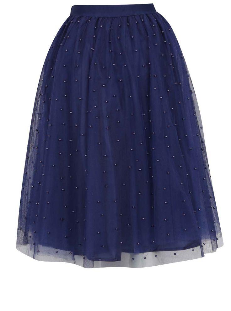 Tmavě modrá midi sukně s korálkovou aplikací Little Mistress