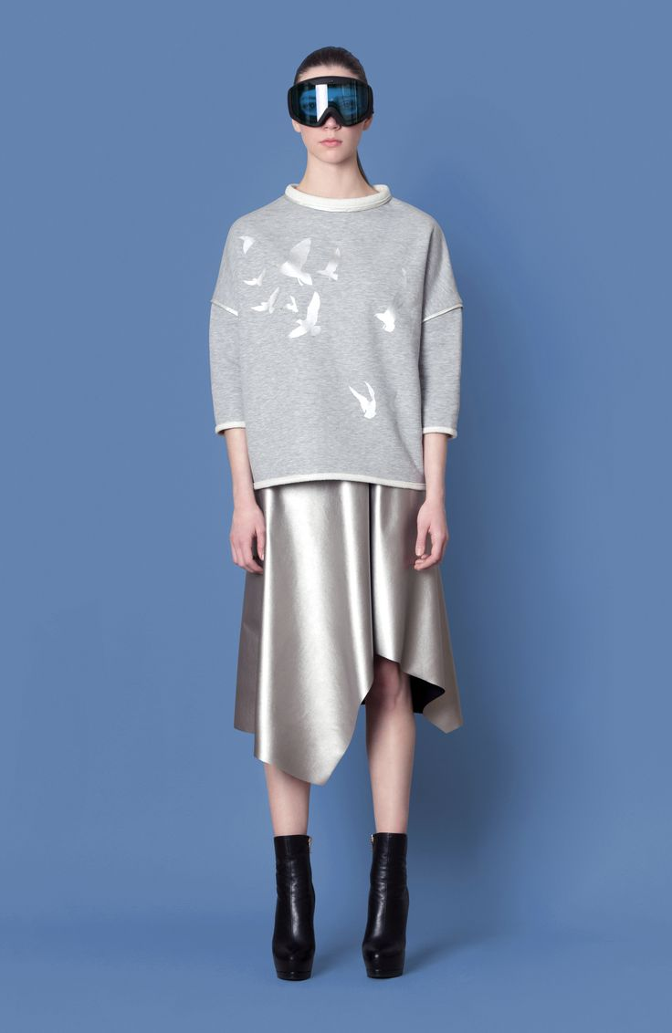 Cocoon Fall - Winter 2014-15 / Blu collection / Sweatshirt with glossy birds