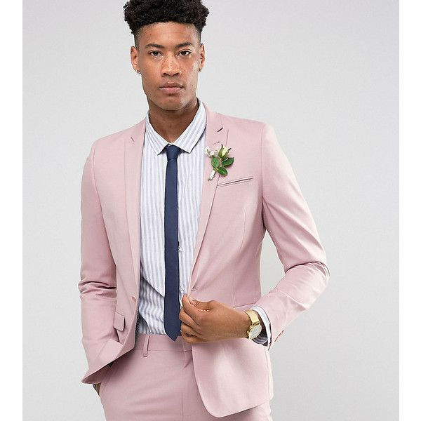 ASOS TALL Wedding Skinny Suit Jacket In Dusky Pink (120 CAD) ❤ liked on Polyvore featuring men's fashion, men's clothing, men's suits, pink, mens beach wedding apparel, asos mens suits, tall mens clothing, mens skinny suits and mens wedding suits