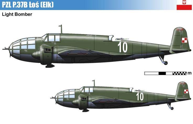 PZL P.37B Łoś – polski średni samolot bombowy. Rys. Vincent Bourguignon.