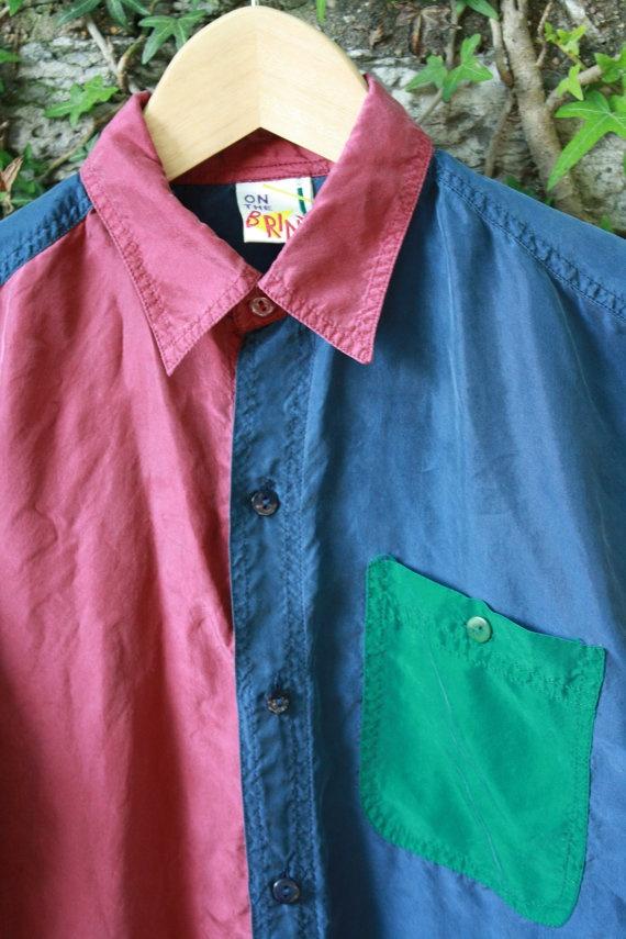 90s Color Block Silk Shirt Blue Green Maroon Womens Xs S