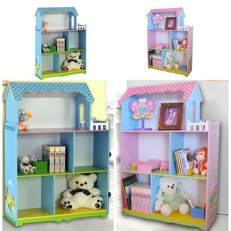 PINK BLUE CHILDREN FURNITURE KIDS BOOKCASE BOOKSHELF TOYS ORGANIZER DOLL HOUSE