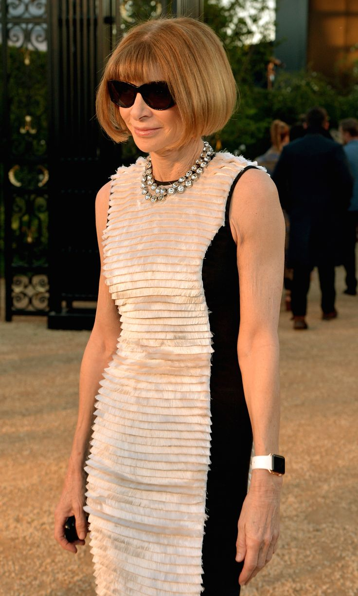 Editor in Chief of American Vogue, Anna Wintour wearing Burberry to attend 'London in Los Angeles'