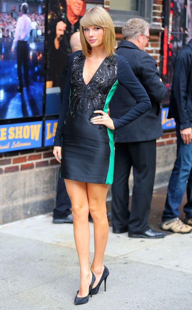 Show Stopper from Taylor Swift's Street Style  It doesn't get any better than this Antonio Berardi black and green embellished bodycon.