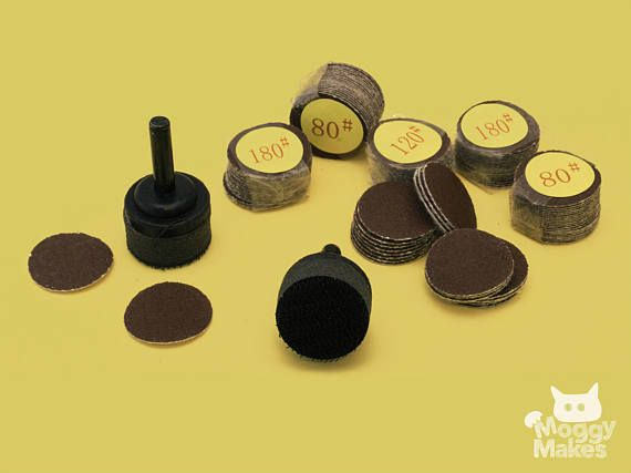 Moggy Makes, your creative project with spoon sanding kit including hook & loop sanding discs