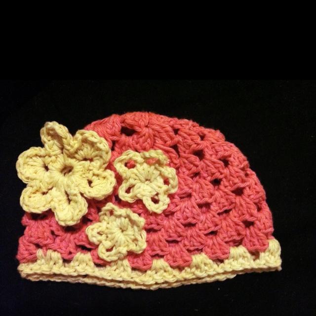 "Crochet granny stitch baby girl hat ""Raspberries and cream""or Strawberries & Cream"