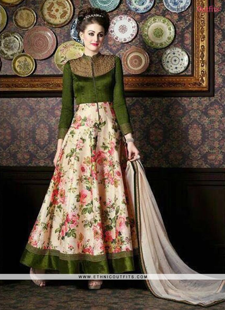Dazzling Embroidered Work Banarasi Silk Green Anarkali Salwar Kameez