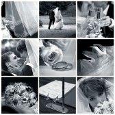 : Collage di nozze nove foto in tonalità blu