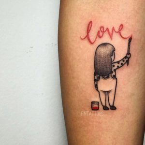 Adorable painted love tattoo by Fin Tattoos