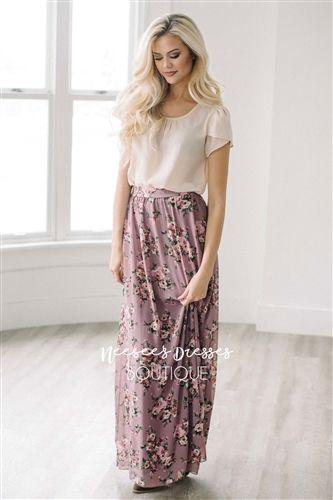 Purple Mauve Floral Maxi Modest Skirt for Church, Church Dresses, dresses for church, modest bridesmaids dresses, trendy modest dresses, modest womens clothing, affordable boutique dresses, cute modest dresses, mikarose, modest bridesmaids dresses