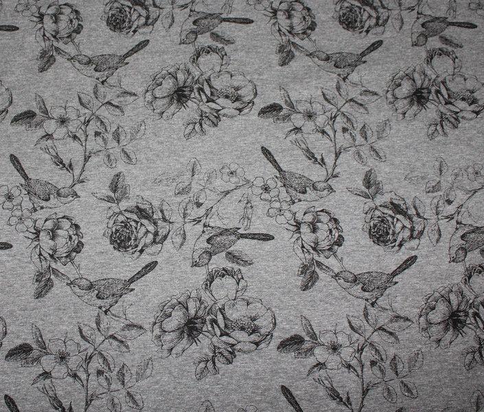 Kinderstoffe - Jersey Rosen Vogel grau meliert Blumen  - ein Designerstück von Rumgenadelt bei DaWanda