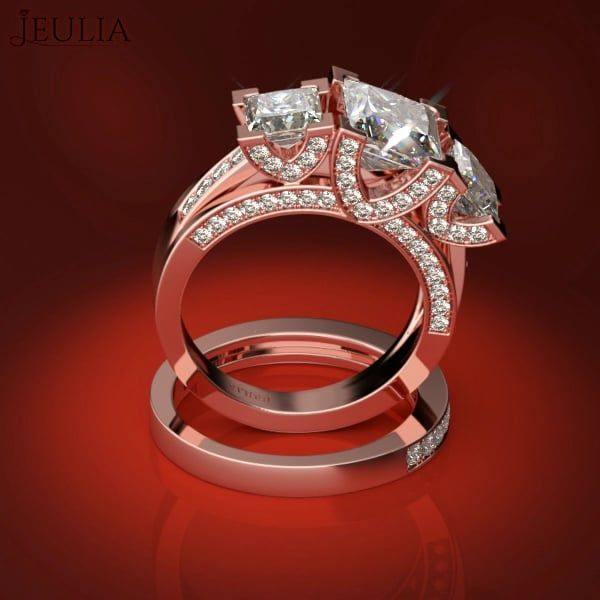 360 View of Three Stone Rose Gold .5CT White Sapphire Wedding Ring Set & Engagement Ring