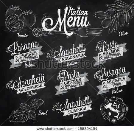 Menu Italian the names of dishes of spaghetti, lasagna, pasta carbonara, bolognese and other ingredients tomato, basil, olive to design a m...