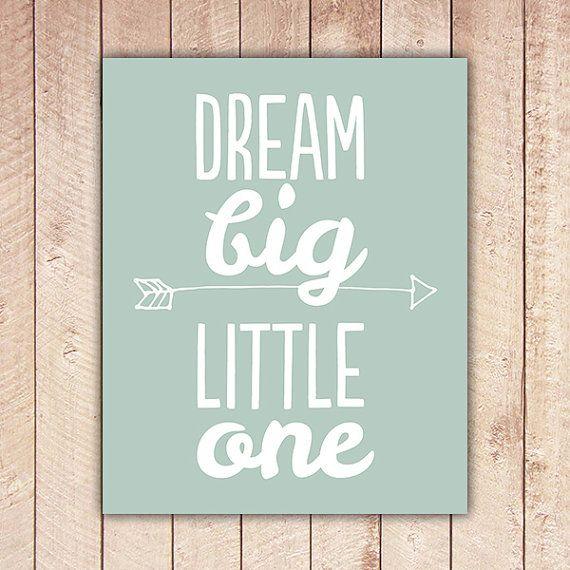 Nursery Printable, Dream Big Little One, Nursery Art, Mint Green Nursery Decor, Instant Download, Black and White DBLO