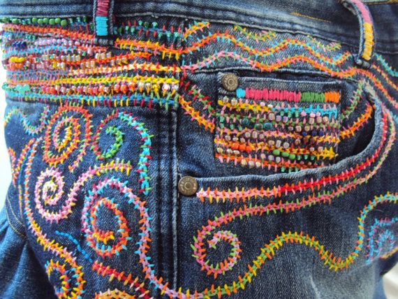 FREE SHIPPING. Positively scrumptious luscious colorful beaded embroidery on upcycled jeans make this the ultimate large tote bag for your princess, for your queen, or your own secret inner diva. 20 photos might fully illustrate all the lovely details of workmanship on this bag. I have maintained the original pockets of the jeans, but added invisible magnetic closures for the sake of security of your belongings. The original waistband is secured with an unique, colorful dyed bone and wood…