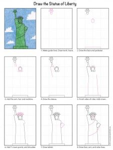 Draw the Statue of Liberty. PDF tutorial available. #statueofliberty #howtodraw