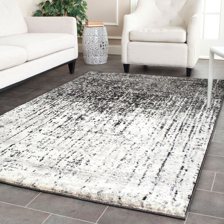 Safavieh Retro Mid Century Modern Abstract Black Light Grey Distressed Rug 8 X 10