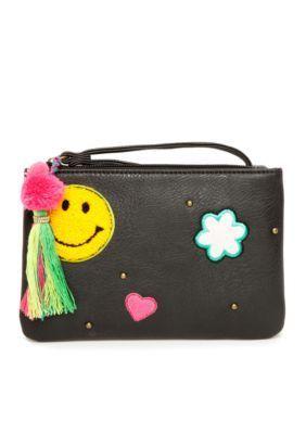 Red Camel Black Emoji Happy Face and Heart Wristlet With Tassel