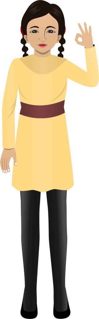 Customized illustration female child avatar for eLearning (Adobe Captivate, Camtasia, Storyline).