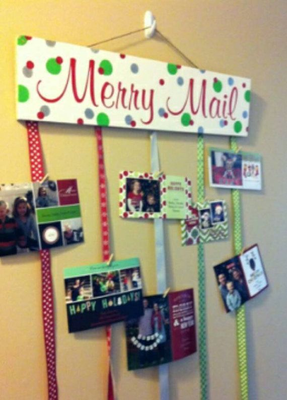 Merry Mail Christmas Card Holder by TrendyCraftsBoutique on Etsy, $20.00