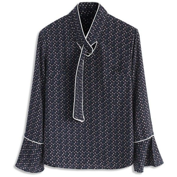 Chicwish Snappy Floret Smock Top in Navy (525 ARS) ❤ liked on Polyvore featuring tops, blouses, black, patterned tops, ruffle sleeve blouse, ruffle sleeve top, print top and navy top