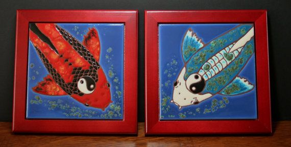 Yen Yang Koi fish  Two Tile Framed Decorative by LoftinTileworks, $96.00