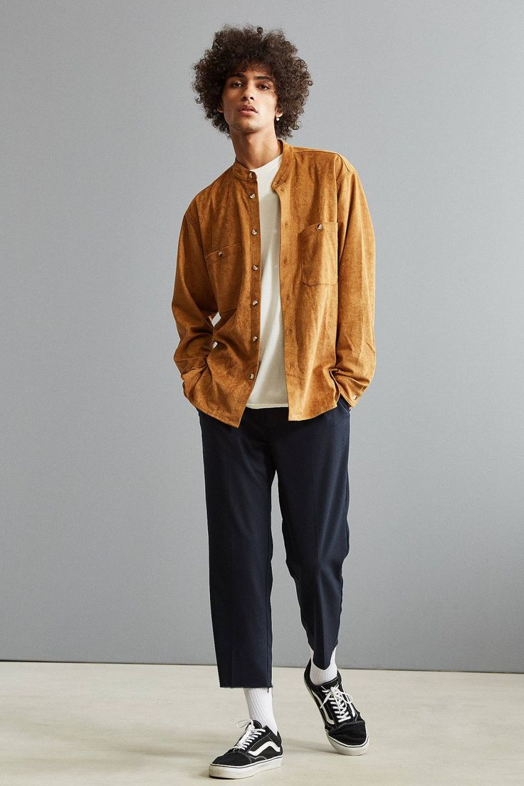UO Faux Suede Band Collar Button-Down Shirt   Urban Outfitters