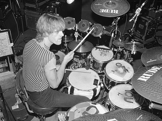 "Stewart Copeland with The Police.  The toms read: ""f*ch off you c*nt'... how RUDE)"