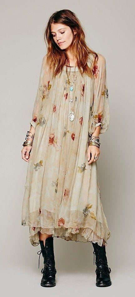 contemporary long flowing maxi Boho dress