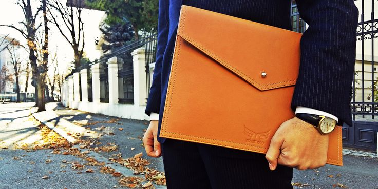 Leather document holder.