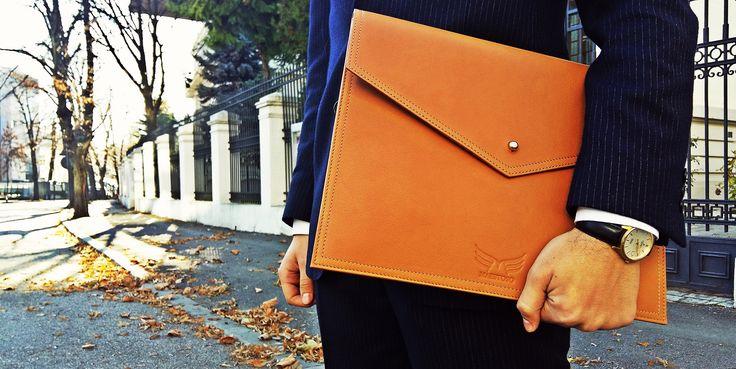 Leather document holder.