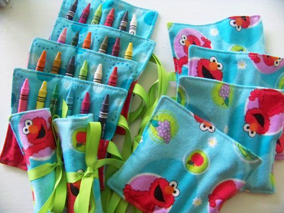 Crayon Roll Mini in Elmo Fabric (6) Crayons Included..... (Packages Available). $6.00, via Etsy.