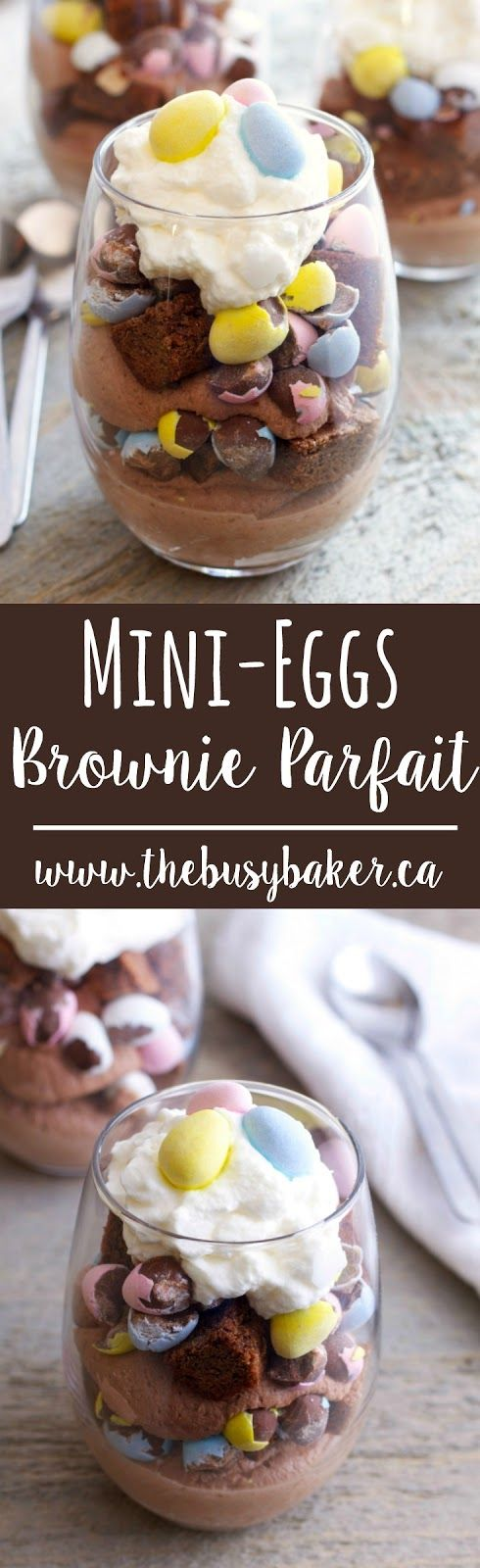 These Mini Eggs Easter Brownie Parfaits are the easiest Easter dessert! Made with everyone's favorite candy-coated Easter eggs, fudgy brownies and cream!