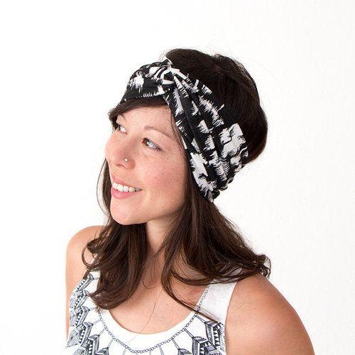 Black and White Ikat Turban headband