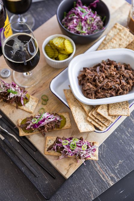 Shredded Beef Short Rib Flat Breads with Stout BBQ sauce - The Backyard Cook