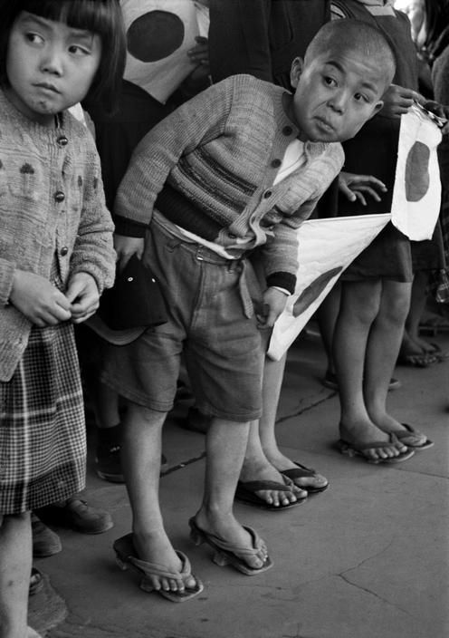 Children waiting for the arrival of Emperor Hirohito, Hiroshima - 1951 by Werner Bischof ~