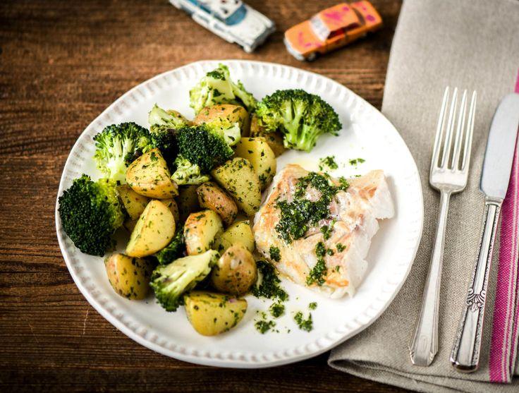 Kabeljauw met broccoli en kruidenolie
