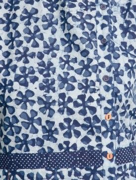Indigo-Ivory Dabu Printed Side Placket Detail Pleated Cotton Dress by Indian August