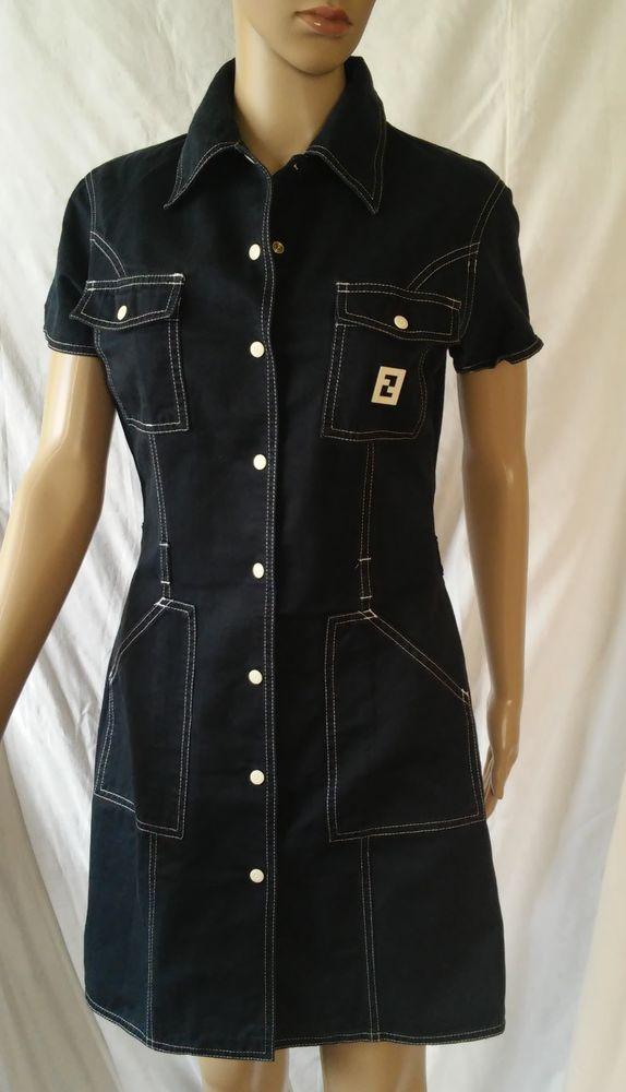 FENDI Jeans Dress 46 IT / 12 USA  Dark Blue Cotton Made in Italy #Fendi#twitter#tumbrl#instagram#avito#ebay#yandex#facebook #whatsapp#google#fashion#icq#skype#dailymail#avito.ru#nytimes #i_love_ny