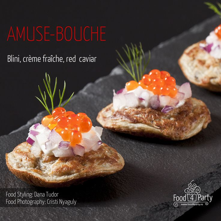 Blini creme fraiche red caviar