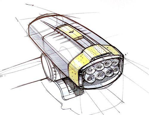 Bike light - Sketch A Day by Spencer Nugent (#371). Pilot Fineliner and Prismacolour Marker on Bond Paper.