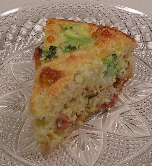In this impossible quiche variation, I added about a cup of coarsely chopped frozen broccoli.