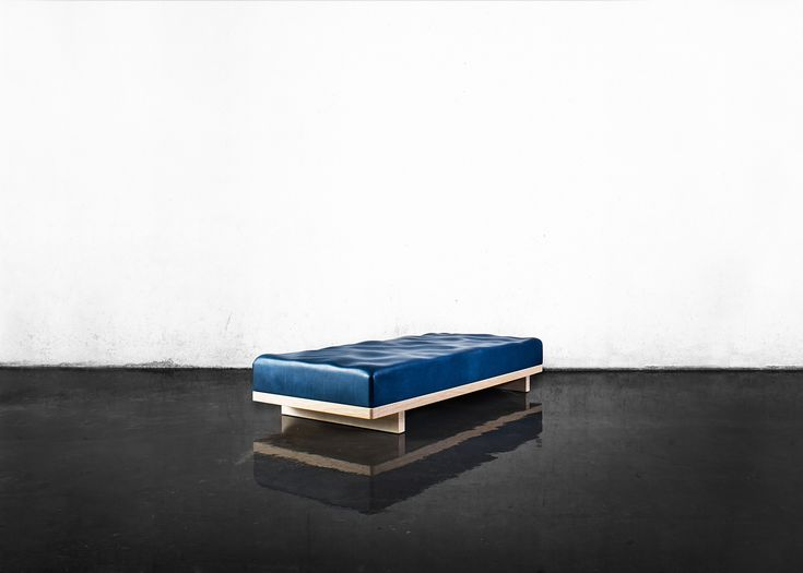 """Windstärke 5 daybed with water surface by Royal College of Art graduate Felix Pöttinger. Combining Algorithms-Aided Design and traditional craftsmanship in a minimalist piece of furniture. Displayed in Peter Zumthor's pavillion """"Werkraum""""."""