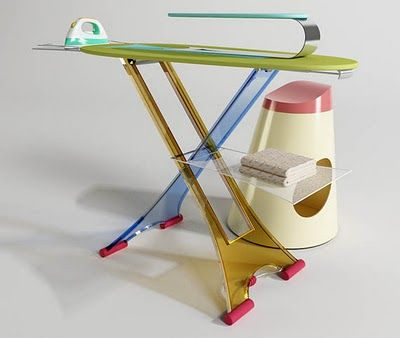 I_ROni_Ca Colorful Iron Board: This modern ironing board by Orit Mazurik Designs includes a mini ironing board for pants and sleeves, a shelf for folded items and a laundry basket that doubles as a seating arrangement.