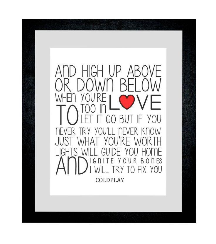 """Coldplay testo della canzone """"Fix You-Cornice per stampa foto, formato A4, realizzato a mano, smaltata, 11 x 14 cm, con supporto pronta per essere appesa sia home décor-Supporto autoportante regalo per Natale, San Valentino, anniversario di matrimonio, idea regalo per primo ballo base che emette famose melodie Black with White Mount: Amazon.it: Casa e cucina"""
